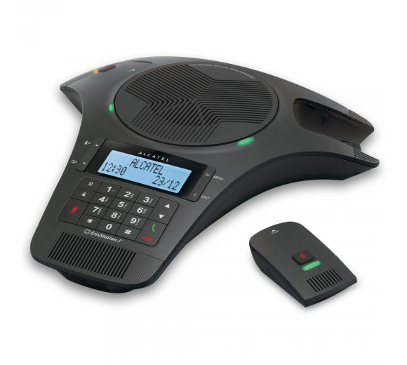 Alcatel Conference 1500, analogue conference phone with 2 mobile DECT microphones, duplex hands-free, illuminated display with caller identification, 5 direct memories (up to 6-8 participants)
