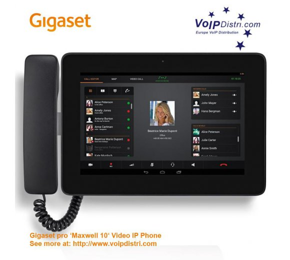 Gigaset Maxwell 10 (B-Ware) Full-Touch Video IP-Telefon (Android) mit schnurgebundenen Hörer, DECT, WLAN, Bluetooth, USB, Gigabit PoE