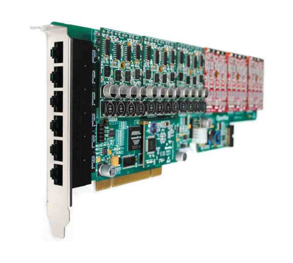 OpenVox AE2410P06 24 Port Analog PCI card + 6 FXO400 modules with EC2032 module