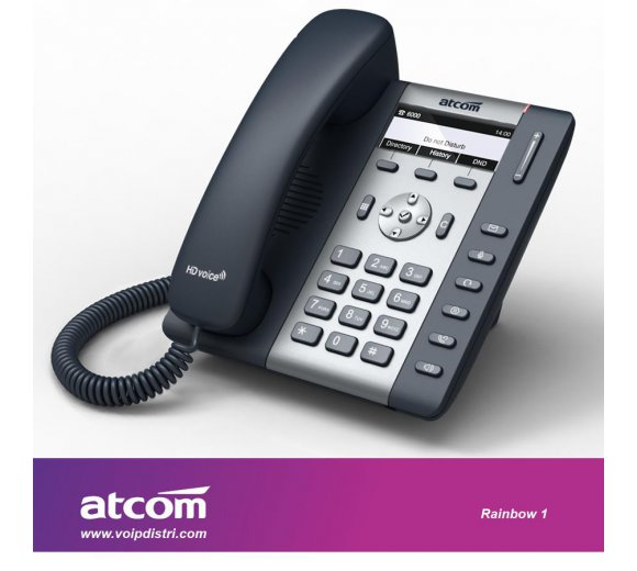 ATCOM Rainbow 1 entry level IP phone / R1 (1 SIP account, Full HD G.722 Wideband voice Audio Codec, PoE, VPN, VLAN, QoS, WiFi Connection only Optional, 1 Watt Standby)