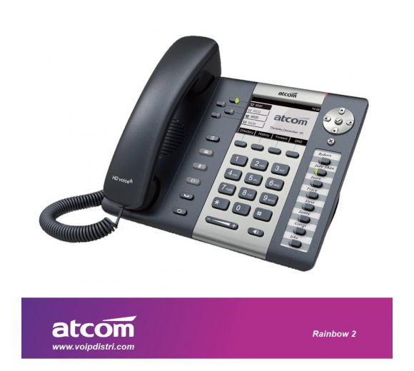 ATCOM Rainbow 2 functional IP phone (4 SIP account, Full HD voice Audio, PoE, VPN, VLAN, QoS, WiFi Connection only Optional, Support expansion module, 1 Watt Standby)