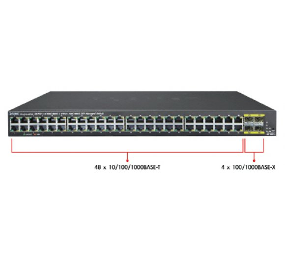 Planet GS-4210-48T4S 10/100/1000BASE-T + 4-Port 100/1000BASE-X SFP Managed Gigabit Switch (Lüfterlos)
