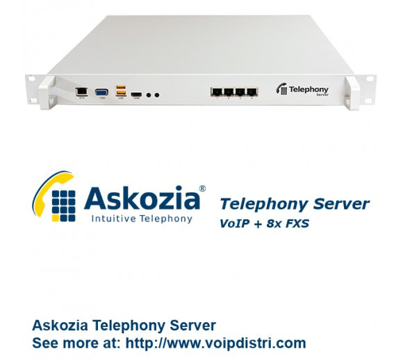 Askozia Telephony Server - 19 Rackmount (VoIP + 8x analog FXS incl. break out), up to 100 users
