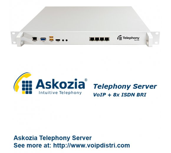 Askozia Telephony Server - 19 Rackmount (VoIP + 8x ISDN BRI), up to 100 users