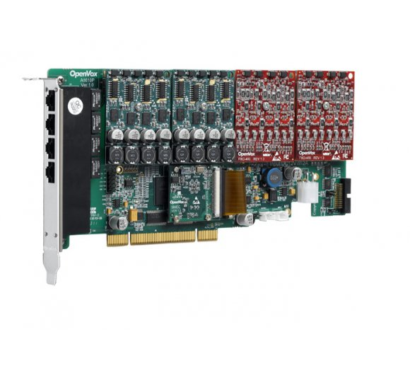 OpenVox AE1610P31, 16 Port Analog PCI Card + 3 FXS400 + 1 FXO400 modules with EC Module