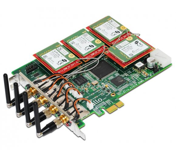 ALLO Quad-Band GSM PCIe card (PCI Express), 4 GSM channel interface card for Asterisk/FreeSwitch/Elastix/TrixBox, Hardware Echo Cancellation for Digital audio quality, User can modify IMEI and PIN