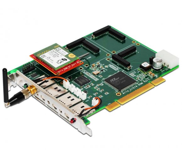 ALLO Quad-Band GSM PCI card, 1 GSM channel interface card for Asterisk/FreeSwitch/Elastix/TrixBox, Hardware Echo Cancellation for Digital audio quality, User can modify IMEI and PIN