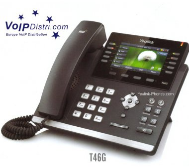 Yealink SIP-T46G Ultra-elegant Gigabit IP Phone (Bluetooth, HD Voice, Paperless, 5-way conference)