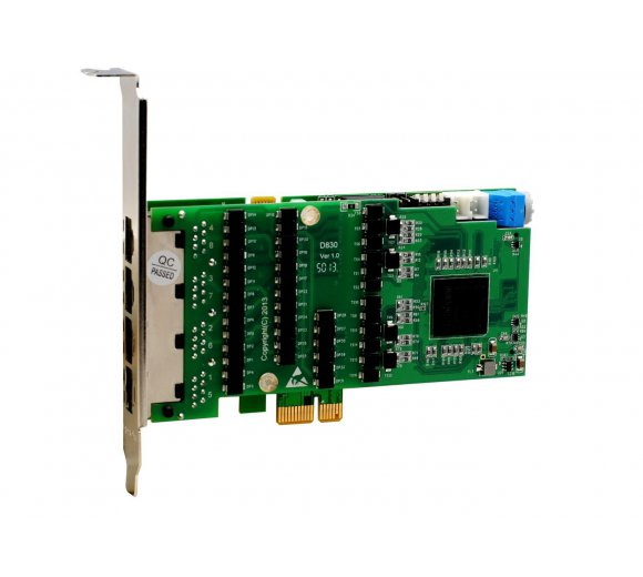 OpenVox DE830E 8 port T1/E1/J1 PCIe card + Octasic Hardware Echo Cancellation Module (Advanced Version, Half-length with Low profile option)