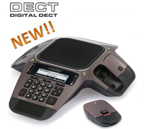 Alcatel Conference IP1850 with Display, SIP conference telephone with 4 detachable DECT microphones (SIP protocol), 10/100Mbit Ethernet / USB Port (up to 15 participants)