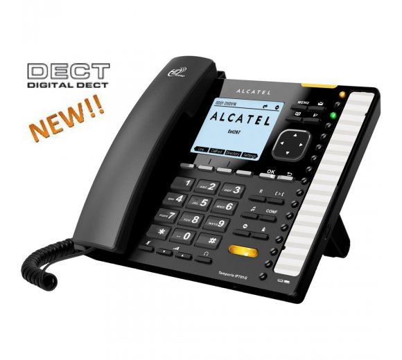 ALCATEL Temporis IP701G Business VoIP Gigabit Telefon mit eingebauter DECT Basis für DECT Mobilteile und DECT Headsets
