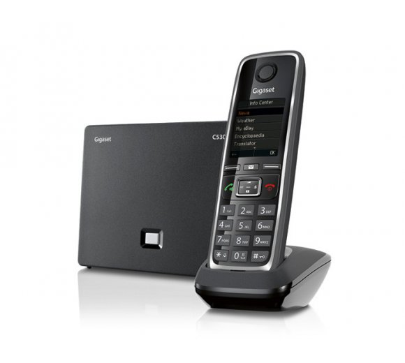 Gigaset C530 IP VoIP and landline phone for smart communication. The better Gigaset IP-DECT phone with Contact Push App: Easy contact transfer from the smartphone onto the DECT handset!