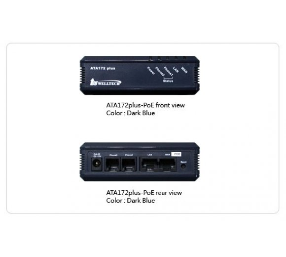 Welltech WellGate ATA 172plus-POE - 2 Port FXS (fax), 3CX support