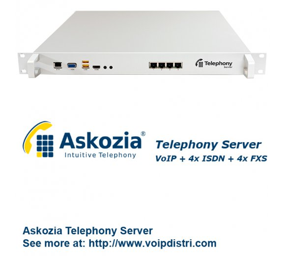 Askozia Telephony Server - 19 Rackmount (VoIP + 4x ISDN BRI + 4x FXS), up to 100 users