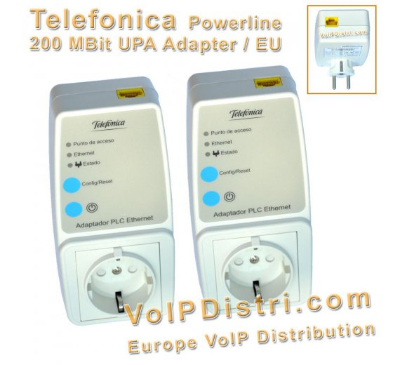 200MBit UPA DS2 powerline Bundle  with integrated Schuko Euro socket (Comtrend / Telefonica)