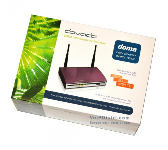 DOVADO DOMA 4G/LTE 4xLAN, 1xWAN, 1xUSB Mobile Broadband Surfstick Router, WLAN-N, Supports UMTS/HSPA+ USB Modem
