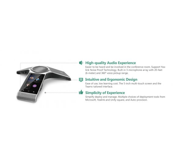 Yealink CP960 Microsoft Teams Conference Phone, WLAN, Bluetooth, 5-Multitouch-Screen, USB-Recording