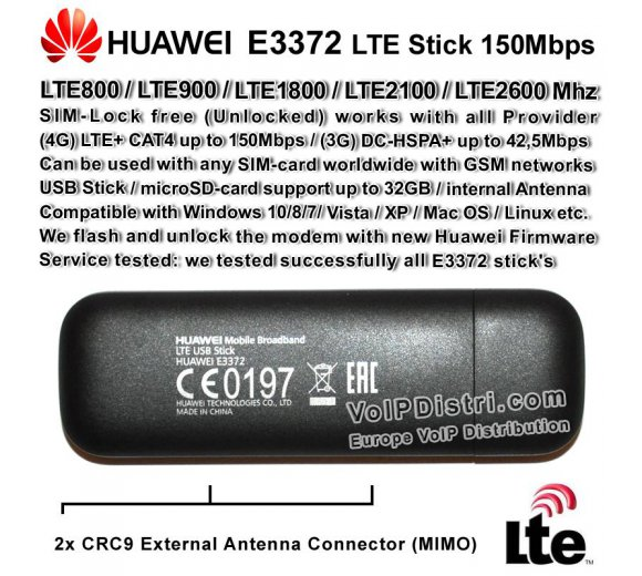 LTE 4G Surfstick 150Mbps, SIM-Lock free UNLOCKED, Huawei E3372 for Dovado AVM with CRC-9 antenna ports