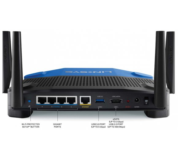 Linksys WRT1900AC Dual Band Wi-Fi Router 802.11 a/b/g/n/ac, OpenWRT OpenSource Software, Gigabit LAN & WLAN, WPA/WPA2 Personal und Enterprise, USB 3.0-Port, eSATA/USB 2.0-Port, Dual Core 1,2 GHz processor, 128 MB Flash Memory, 256 MB DDR3 RAM