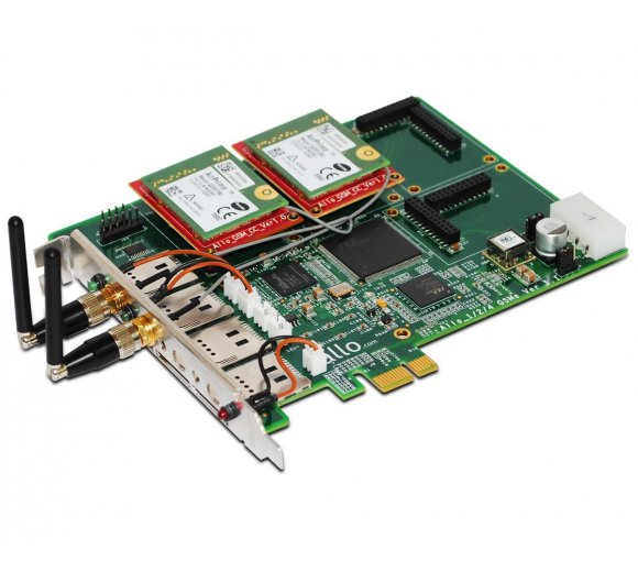 ALLO Quad-Band GSM PCIe card (PCI Express), 2 GSM channel interface card for Asterisk/FreeSwitch/Elastix/TrixBox, Hardware Echo Cancellation for Digital audio quality, User can modify IMEI and PIN