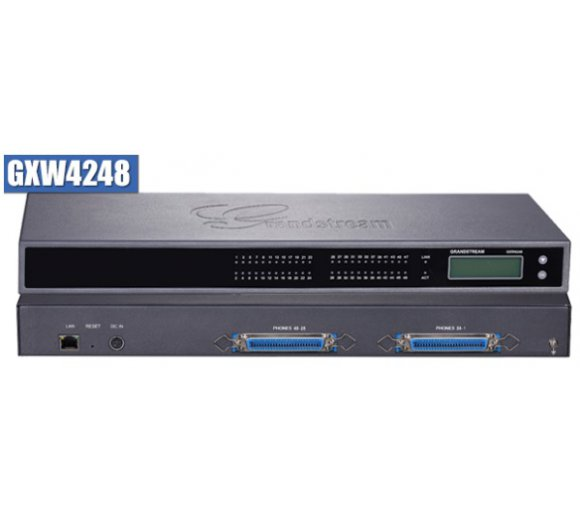 Grandstream GXW4248 with 48 Analog telephone FXS lines and 2x 50-pin Telco connectors, FXS-VoIP Gateway