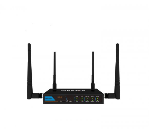 Dinstar UC100-1T1S1O / UC100 All-in-one Box (LTE-Router - data service by GSM/GPRS/EDGE/4G/WCDMA 3G) + FXS/FXO Analog, WAN/LAN-Switch, WLAN VoIP Gateway