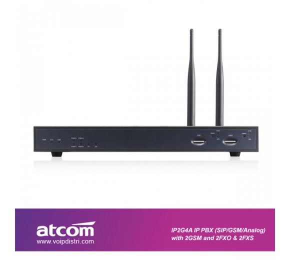 ATCOM IP2G4A-222 Hybrid-PBX (Analog 2x FXS 2x FXO & 2x GSM / SIP & IAX2), IVR, fax to email, unlimited recorded voice *Asterisk basierend