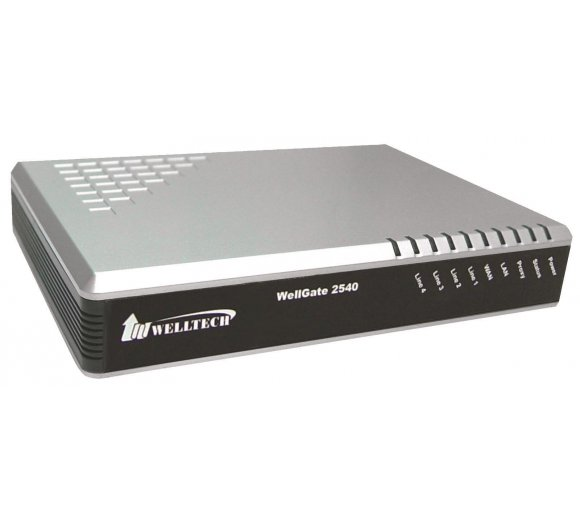 Welltech Wellgate 2540A with PoE on WAN - 4 port FXO (analoge Amtport/POTS) Analog VoIP Gateway (3CX support)