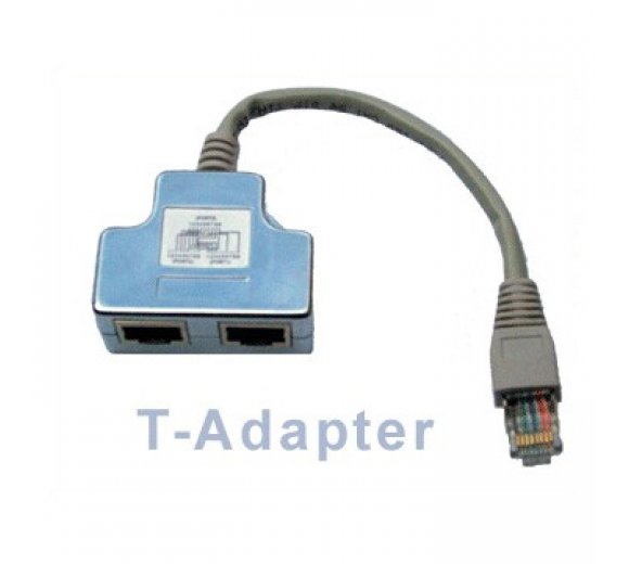 Cat. 5e / ISDN T-Adapter - RJ45 Anschlussverdoppler (Telefon / Ethernet)