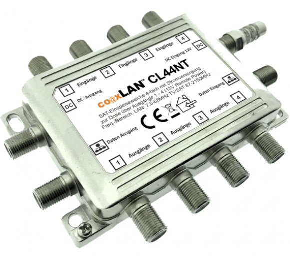 coaxLAN CL44NT Sat / Internet Switch (coaxial data input, cascadable up to 32 ports)