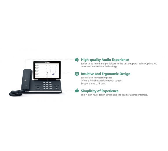 Yealink T56A IP Telefon, Microsoft Teams Edition (Gigabit Ethernet, USB, Opus Codec, embedded WLAN und Bluetooth - optionaler Dongle)