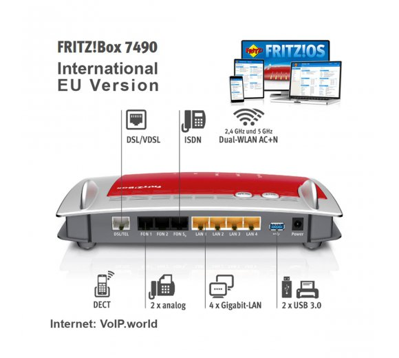 AVM FRITZ!Box 7490 Wireless AC, Gigabit, VDSL and ADSL2+ vectoring Annex A or Annex B, Telephone system for ISDN, IP and analog, including answering machine and fax function, DECT base station