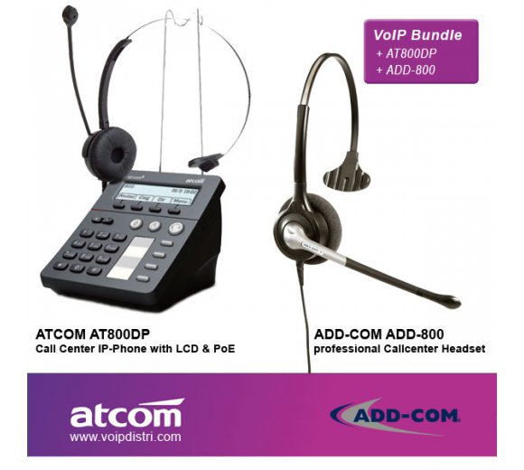 ATCOM AT800DP Call Center IP-Phone with PoE Port + ADD-COM ADD-800 Headset
