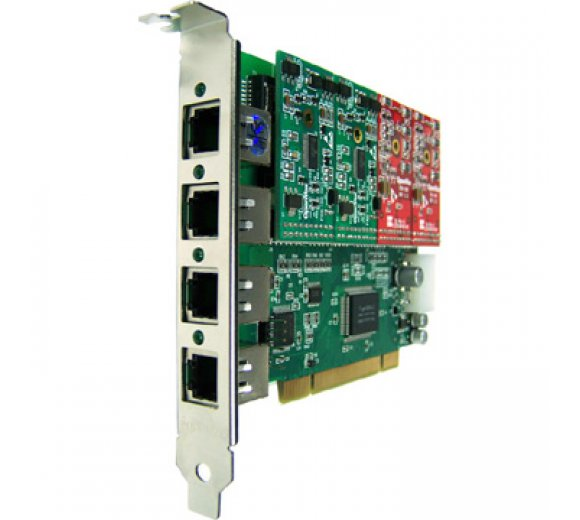 OpenVox A400P02 4 Port Analog PCI card + 2 FXO modules